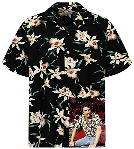 - Original Hawaiian Shirt, Tom Selleck, Star Orchid, Black, 2XL