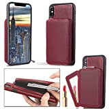 iPhone X Wallet Case, iPhone X Card Holder Case, SOGOLA iPhone X Slim Leather Case with a high qulity Credit Card Pockets and a little mirror for Apple iPhone X 5.8'' (Deep Red)