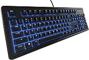 SteelSeries Apex 100 Gaming Keyboard - Tactile & Silent - Blue LED Backlit - Splash Resistant - Media Cont