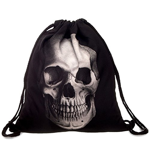 - Ababalaya 3D Print Drawstring Backpack Rucksack Shoulder Bags Gym Bag, Skull