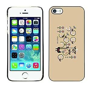 TopCaseStore / la caja del caucho duro de la cubierta de protección de la piel - Beige Cartoon Drawing Pattern - Apple iPhone 5 / 5S