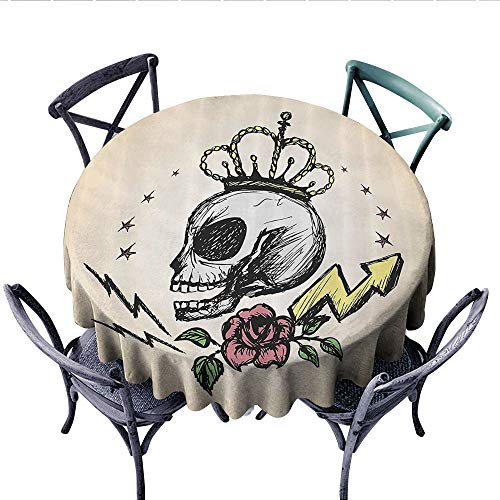 Skull Decor Customized Round Tablecloth Mexican Folk Art Inspired Skeleton with Crown and Rose Halloween Artsy Design Waterproof Circle Tablecloths (Round, 60 Inch, Yellow Peach)
