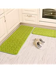 Kitchen Rugs Camal 2 Pieces Non Slip Memory Foam Kitchen Mat Rubber Backing Doormat Runner Rug Set 16 X24 16 X48 Green