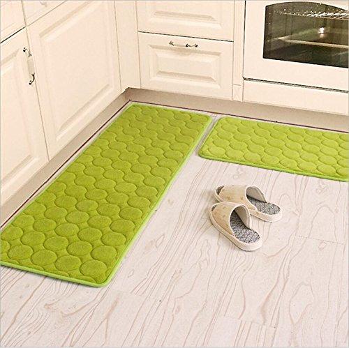 Kitchen Rugs,CAMAL 2 Pieces Non-Slip Memory Foam Kitchen Mat Rubber Backing Doormat Runner Rug Set (16