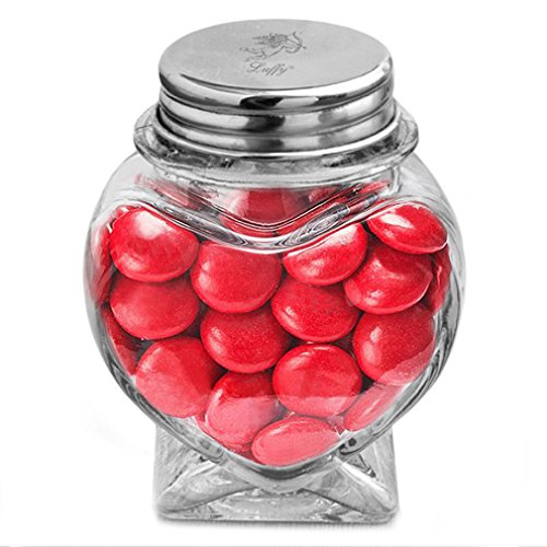 """Luffy Heart Jar 3"""" : Beautiful heart shape: Thick strong glass: Tight seal with metal cap: Sturdy base: Use for party favors, candy, Marimo balls, Aromatherapy Oils, Bath salts, spices & DIY projects!"""