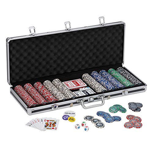 - Fat Cat Bling 13.5 Gram Texas Hold 'em Clay Poker Chip Set with Aluminum Case, 500 Striped Dice Chips
