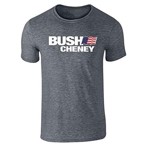 Bush Cheney Sticker - Pop Threads George W Bush Dick Cheney President Campaign Retro Dark Heather Gray M Short Sleeve T-Shirt