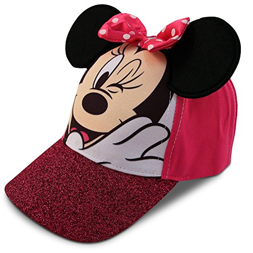 Disney Little Girls Minnie Mouse Character Cotton Baseball Cap, Age 2-7 (Little Girls - Age 4-7 - 53CM, Pink)
