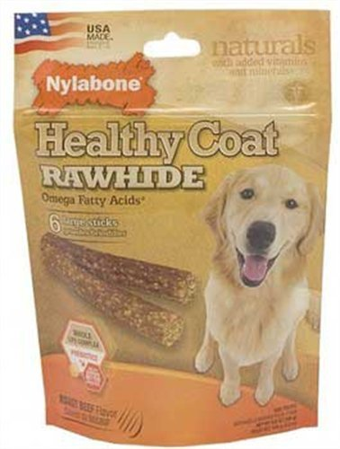 Nylabone USA Rawhide Healthy Coat Fatty Acid, 6 Count Pouch, 4-Inch, My Pet Supplies