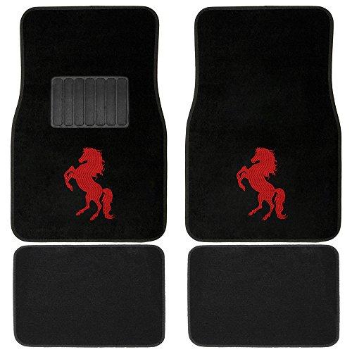 OxGord Red Stallion Embroidered Floor Mats