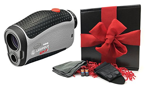 Leupold 2017 GX-2i3 Golf Rangefinder GIFT BOX | Includes Laser Rangefinder (True Range/Slope Function), Carrying Case, Magnetic Cart Mount, PlayBetter Microfiber Towel, Two (2) CR2 Batteries by PlayBetter
