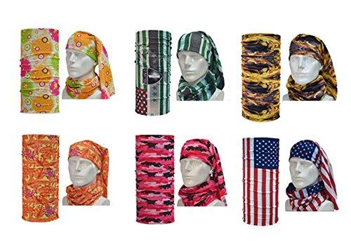 6 Pcs Elastic Outdoor Windproof Headband / Face Mask - Winter Balaclava Head Band for men women –Sunblock Bandeau for Yoga, Sports, running, softball, athletic, workout, basketball (Mix Set D)