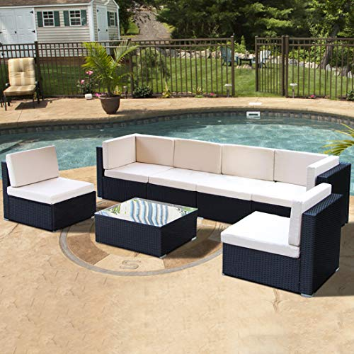 (U-MAX Patio Outdoor Furniture Couch PE Black Wicker Garden Sectional Rattan with Cushions Party Conversation Sofa Sets, 7 Pcs)