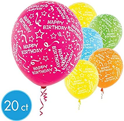Pack of 20 Party Decor Assorted Brights Birthday Confetti  Colors Latex Balloons