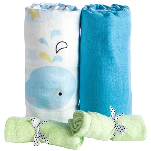 Premium Organic Cotton Muslin Swaddle Blankets 2 Pack + Bonus Bamboo Washcloths 2 Pcs by BabyVoice (Bamboo Canopy Beds)
