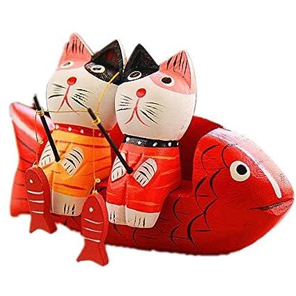 HoDecor Dos Gatos de Pesca Set Animal Escultura Arte casa decoración - Figuras Creativas Escritorio Adornos