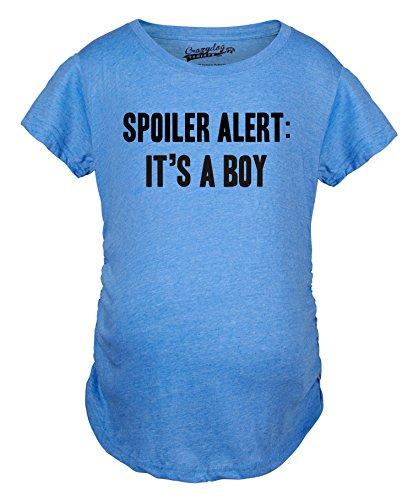 Crazy Dog TShirts - Maternity Spoiler Alert It's a Boy Funny Gender Reveal Pregnancy Announcement T shirt (Blue) XL - damen - XL