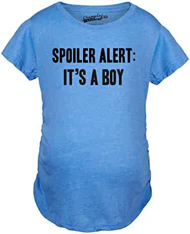 ecbe46652696f Crazy Dog T-Shirts Maternity Spoiler Alert It's a Boy Funny Gender Reveal Pregnancy  Announcement