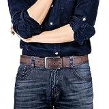 Best Men's Designer Belts - Mens Dark Brown Leather Belt with Stitched edge Review