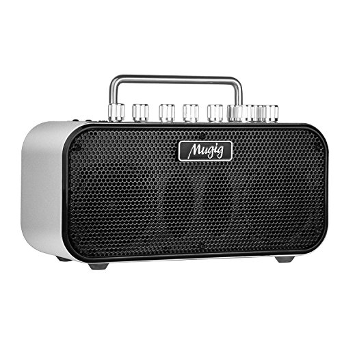 Mugig Electric Guitar Amplifier, Portable Guitar Amplifier, 8 Customized Timbre, 8 guitar effects, Input for Foot Pedal Switch And AUX, Built-In Tuner, powered by AA batteries or DC 12V