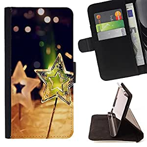 Super Marley Shop - Leather Foilo Wallet Cover Case with Magnetic Closure FOR Samsung Galaxy S4 IV I9500 i9508 i959- Stars All star