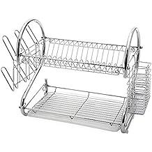 Amazon Com 2 Tier Dish Rack Chrome Stainless Steel