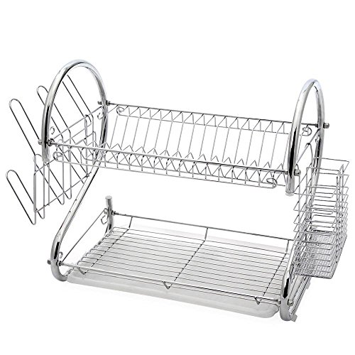 g Iron Dish Drying Rack Utensil Holder with Drain Board, Chrome 17L x 9.25W x 10.5H Inches (Tier Iron)