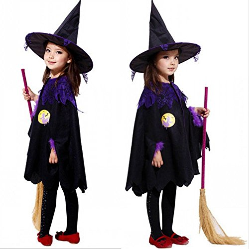 Litetao Kids Girls 2017 Halloween Clothes Funny Costume Dress Party Cloak+Hat Outfit (100, (Ideas Family Halloween Costumes Baby)
