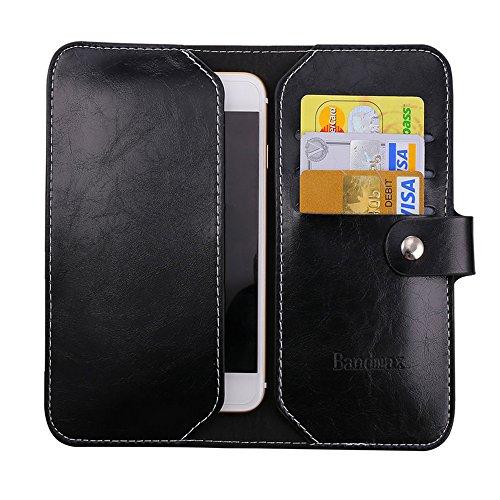 Smartphone Wallet Case, Bandmax Women/Men Soft Slim Black PU Leather Long Bifold Clutch Purse for iPhone 7/6s/6/SE/5s/5c/5/4S/4, HTC One M7, Moto X/G/Droid Razr etc(4.0