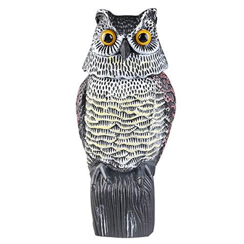 JYWH Owl Decoy Rotating Head Scarecrow Farm / Garden Defense Owl Yard  Protector Bird Pest Repellent