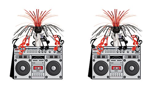 Beistle S57360AZ2, 2 Piece Boom Box Centerpieces, -