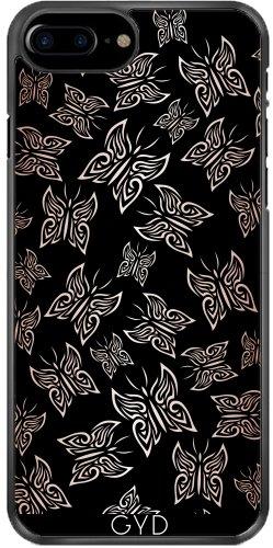 Coque pour Iphone 7 Plus / 8 Plus (5,5'') - Papillons Or Rose Noire by Nina Baydur