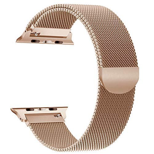 yamen Compatible for Apple Watch Band 42mm 44mm Milanese Loop for iwatch Band Series 2 Series 3 Series 4 Champagne Gold