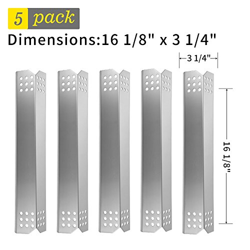 SHINESTAR Gas Grill Replacement Parts for Jenn-Air, Kitchen Aid, Nexgrill, Kenmore and Others, 5-pack Stainless Steel Heat Tent Shield Plate, Burner Cover Flame Tamer (16 1/8 x 3 1/4 Inch)(SS-HP018)
