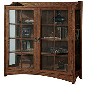 Pulaski Bookcase Curio, 42 by 15 by 63-Inch, Brown