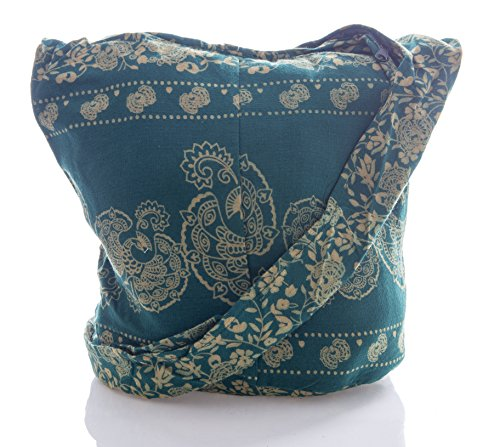 Messenger Purse Avarada Crossbody Thai Bag Peacock Bohemian Hippie Cotton Sling Hobo Green Teal 0Hdr80xq