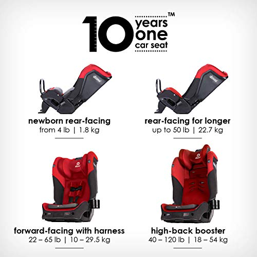 51PFVfPTtBL - Diono Radian 3QX 4-in-1 Rear & Forward Facing Convertible Car Seat | Safe+ Engineering 3 Stage Infant Protection, 10 Years 1 Car Seat, Ultimate Protection | Slim Design - Fits 3 Across, Red Cherry