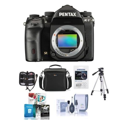 Pentax K-1 Digital SLR Camera Body - Bundle with Camera Case, 32GB SDHC U3 Card, Tripod, Cleaning Kit, Memory Wallet, Software Package
