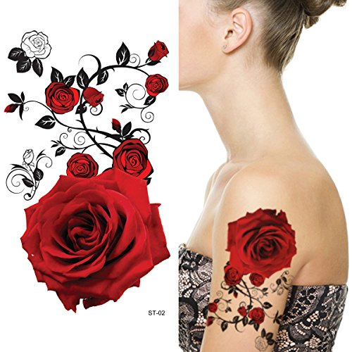 Supperb® Temporary Tattoos - Red (Temporary Rose Tattoos)