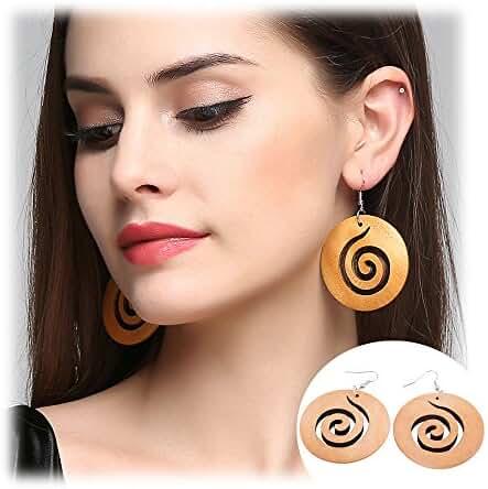 African Wooden Earrings for Women Big Statement Circle Beautiful Earrings
