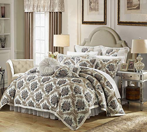 - Chic Home 9 Piece Le Mans Decorator Upholstery Quality Jacquard Motif Fabric Bedroom Comforter Set & Pillows Ensemble, Queen, Silver