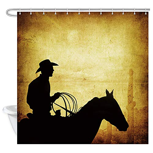 NYMB American West Rodeo Cowboy Shower Curtain, Western Desert Landscape and Cactus Yellow Brown Wallpaper, Cowboy and Horse Silhouette Art Print Bath Curtains, Bathroom Accessories 69X70''