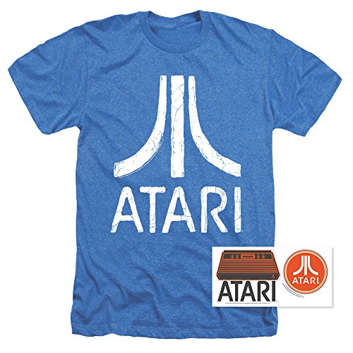 Blue Graphic Tee (Atari Logo Retro Video Game Royal Blue Heather T Shirt & Stickers (Large))