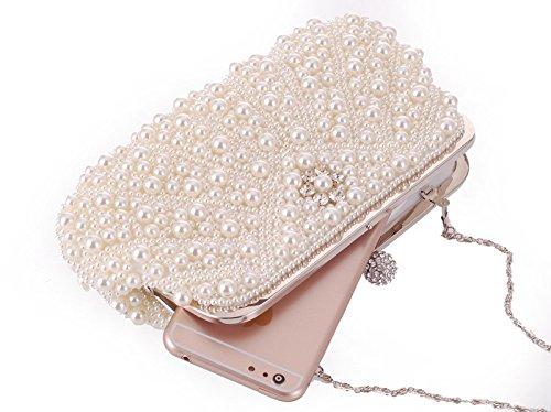 KERVINJESSIE Womens Bag Pearl Beaded Handbag Gorgeous Commuter Crossbody Clutch Purse