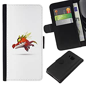 YiPhone /// Tirón de la caja Cartera de cuero con ranuras para tarjetas - Monstruo lindo P0kemon - HTC One M7