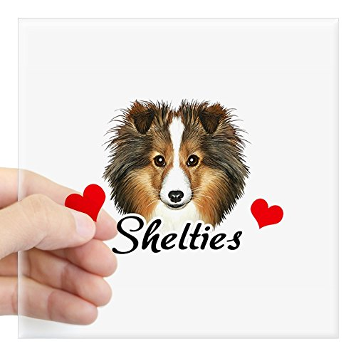 CafePress Sheltie-Heart-Oval Square Bumper Sticker Car Decal, 3