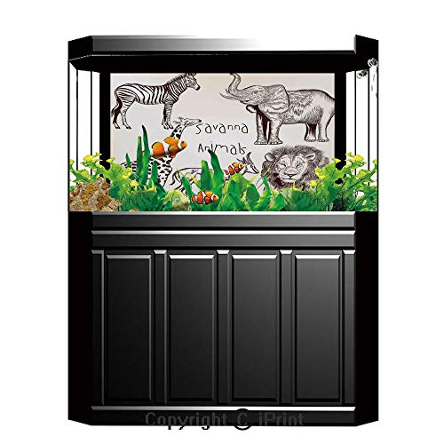- Terrarium Fish Tank Background,Safari,Collection of Tropic African Asian Wild Savannah Animals Lion Giraffe Zebra Graphic,Cream Brown,Photography Backdrop for Pictures Party Decoration,W48.03