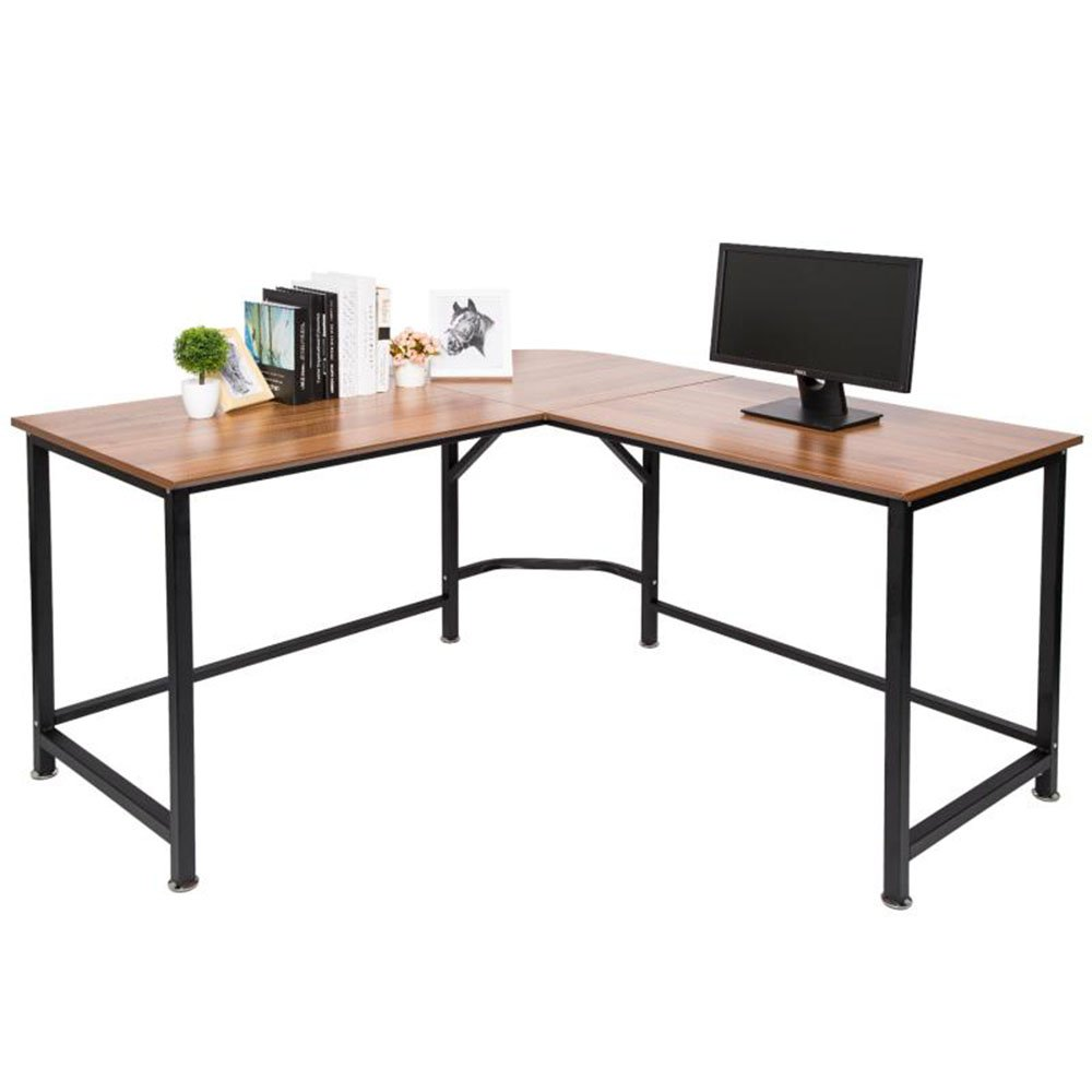 TOPSKY L-Shaped Desk Corner Computer Desk 55'' x 55'' with 24'' Deep Workstation Bevel Edge Design (Oak Brown+ Black Leg) by TOPSKY