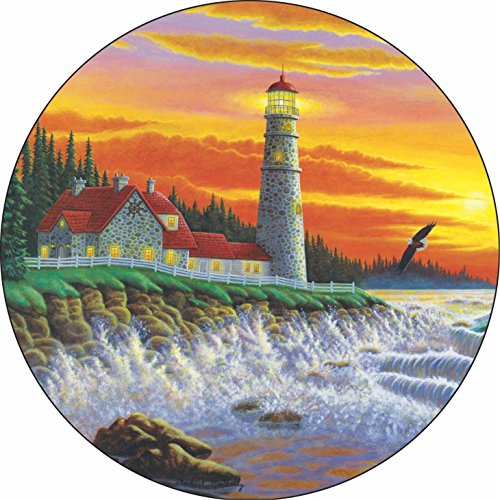 TIRE COVER CENTRAL Lighthouse #5 The Guiding Light Spare Tire Cover for 285/70R17 fits Camper, Jeep, RV, Scamp, Trailer(Drop Down Size menu