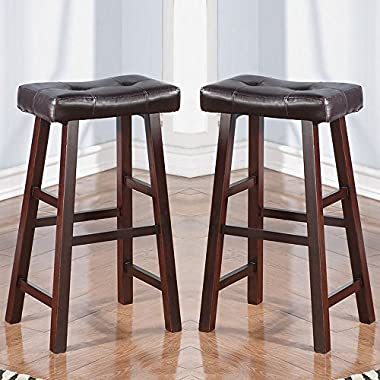 Poundex Country Series Bar Stool, Dark Cherry Finish with Faux Leather, Set of 2
